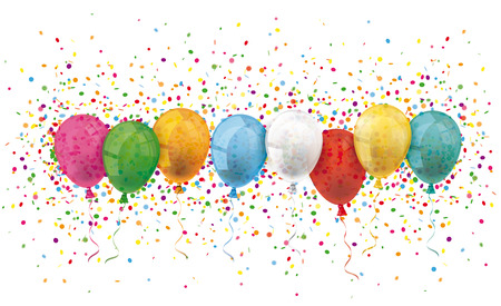 Colored balloons with confetti on the white. Eps 10 vector file. Illustration
