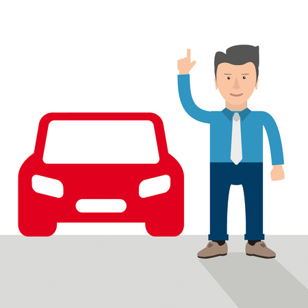 Businessman cartoon with hint and red car vector illustration.