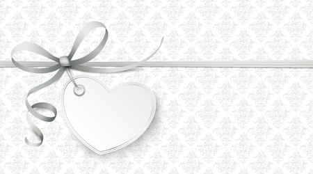 Gray ribbon wallpaper with heart and ornaments.