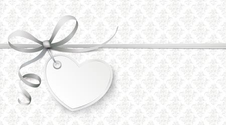 Gris papier peint avec coeur et ornements Banque d'images - 96353600