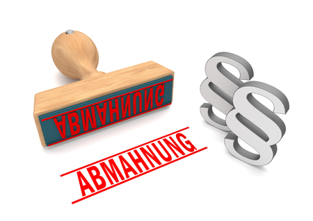 A stamp with german text Abmahnung, translate Warning Letter. Eps 10 vector file. Stock Photo