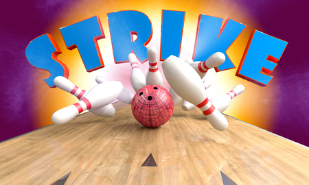 Bowling pindeck with pins, ball and text Strike. 3d illustration.  Stock Photo