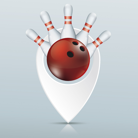 Pointer with red bowling ball and pins gray mirror background. Eps 10 vector file.
