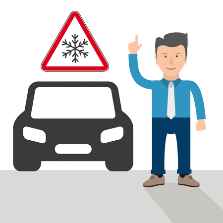 Businessman cartoon with hint, warning sign with snowflake and black car. Eps 10 vector file.