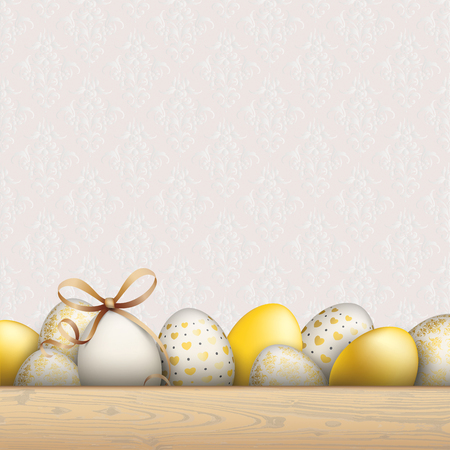 Noble easter eggs with wallpaper with ornaments. Eps 10 vector file.