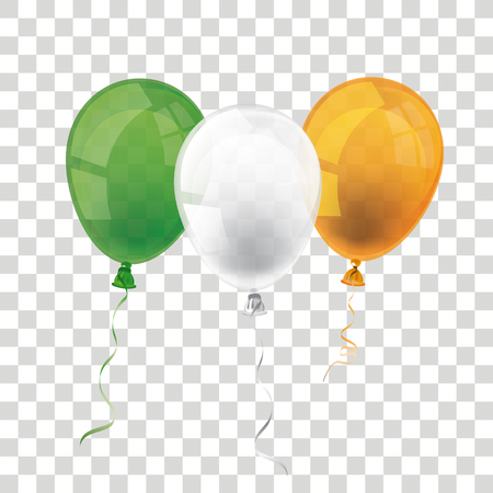 Balloon in irish national colors on the checked background. Eps 10 vector file.