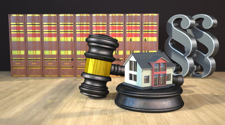 A living house with gavel, books and paragraphs on the wooden table. 3d illustration.