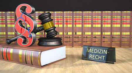 German text Medizinrecht, translate Medical Law. 3d illustration.