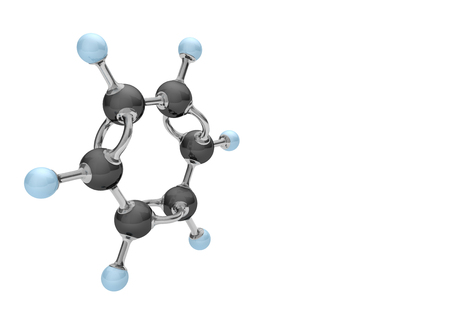 Molecule of benzene on the white. 3d illustration.