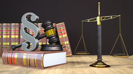 Judges gavel with paragraph, books and scale on the wooden table. 3d illustration.