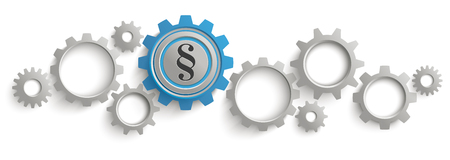 Infographic header with gray and blue gears on the white background. Illustration