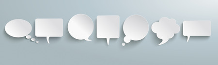White paper communication bubbles vector illustration set
