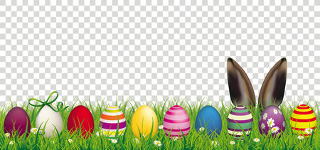 Grass with colored Easter eggs and hare ears banner vector illustration