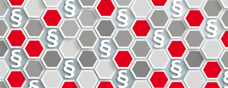 Hexagon structure with paragraphs and white tab. Eps 10 vector file.