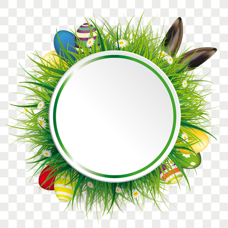 Circle label with green grass, flowers, eggs and hare ears on the checked background.