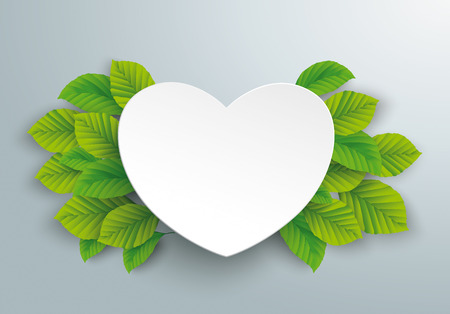 Infographic design with paper heart and green eco leaves on the gray background. Иллюстрация