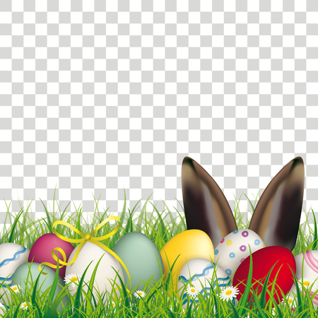 Colored eggs with hare ears in the grass on the checked background. Illustration