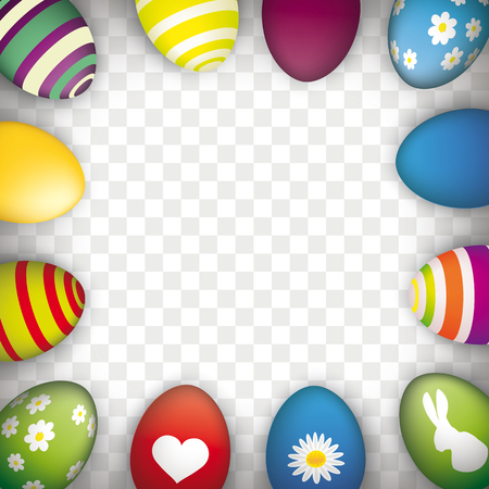 Easter eggs on the checked background.