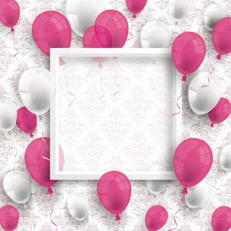 Colored balloons with white frame on the wallpaper with ornaments. Eps 10 vector file.