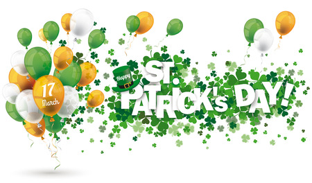 White background with shamrocks and balloons for St Patricks Day. Eps 10 vector file.