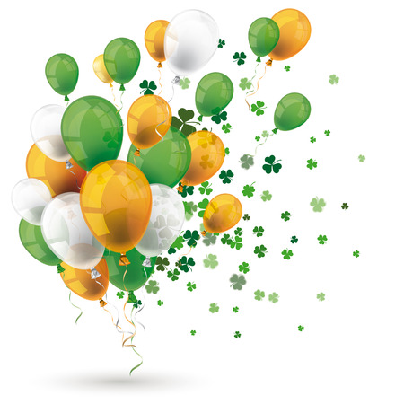 Green orange balloons with shamrocks on the white background. Eps 10 vector file. Illustration