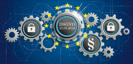 German text DSGVO, translate General Data Protection Regulation. Eps 10 vector file. Ilustracja