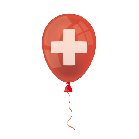 Red balloon with white cross on the white background. Eps 10 vector file.