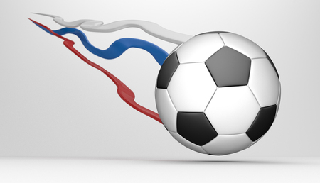 Flying classic football with tails colored in slavic colors. 3d illustration.