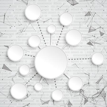 Abstrait avec des cercles, des points connectés et un fichier vectoriel de données.