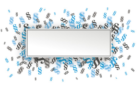 Rectangle paper banner with blue and gray paragraphs on the white. Eps 10 vector file. Ilustração