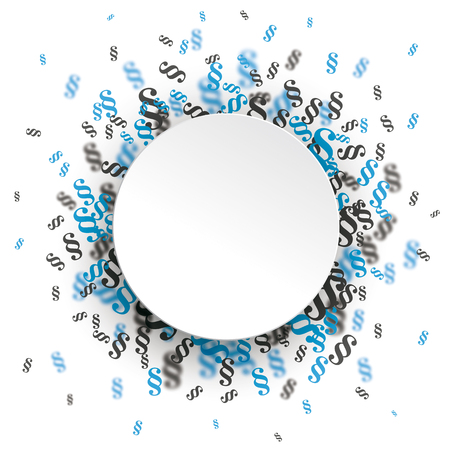 White paper circle with blue and gray paragraphs on the white background.  vector file. Illustration