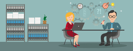 Consulting in a office with a woman with notebook and a businessman. vector file.