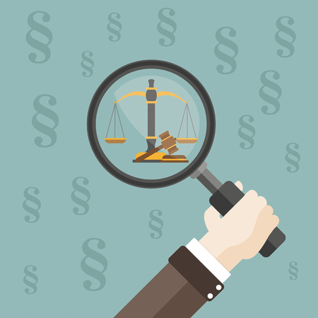 Hand with loupe, paragraphs, beam balance and judges gavel on the green background. Eps 10 vector file. Illustration