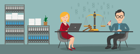 Consulting in a office with a woman with notebook and a businessman. Eps 10 vector file.