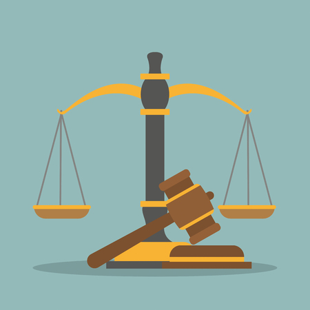 Beam balance and judges gavel on the green background. Eps 10 vector file. Illustration