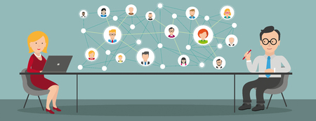 Consulting in a office with a woman with notebook and a businessman and social network about the table. Eps 10 vector file. Vectores