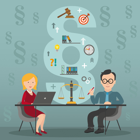 Legal advice meeting with woman and man in the law firm. Eps 10 vector file.