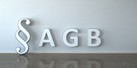 German text AGB, translate general business terms. 3d illustration.