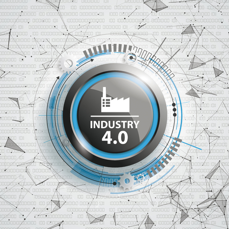 Abstract background with text Industry 4.0, connected dots and data. Eps 10 vector file.