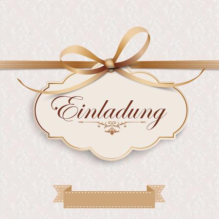 German text Einladung, translate Invitation. Eps 10 vector file. Stok Fotoğraf - 98864614