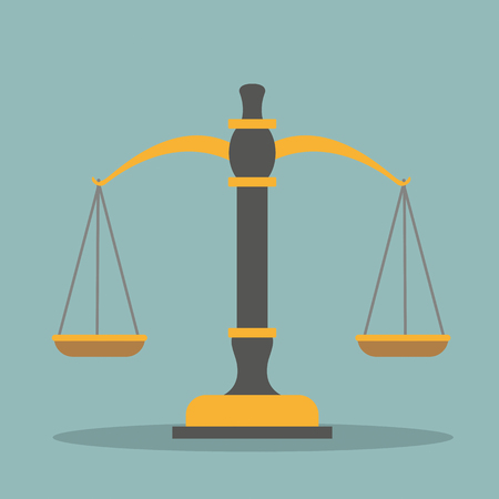 Beam balance and judges gavel on the green background. Eps 10 vector file. Vectores