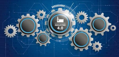 """Button mit deutschem Text """"Industrie"""", übersetze """"Industrie 4.0"""" auf den grauen Hintergrund. EPS 10-Vektordatei. Vektorgrafik"""