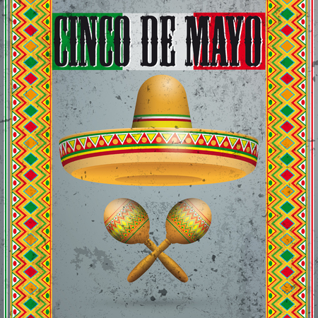 Concrete background with mexican flag, ornaments, sombrero and text Cinco De Mayo. Eps 10 vector file. Stock Illustratie