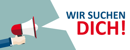 German text Wir Suchen Dich, translate We Want You. Eps 10 vector file. Vectores