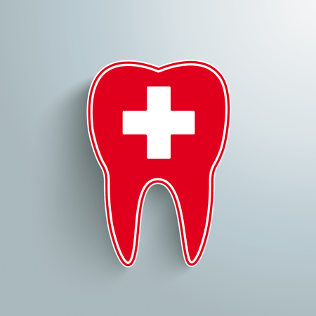 Red tooth with cross on the gray background. Eps 10 vector file.