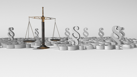 Justice scal with paragraphs on the white background. 3d illustration.
