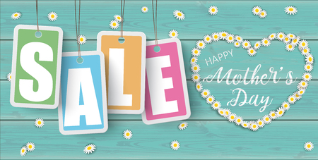 Text Happy Mothers Day with daisy flowers heart and price stickers on the wooden table. Illustration