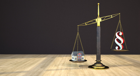 House building with beam balance and paragraph on the wooden table in a room. 3d illustration.