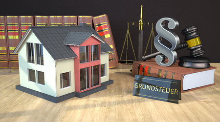German text Grundsteuer, translate Property Tax. 3d illustration.