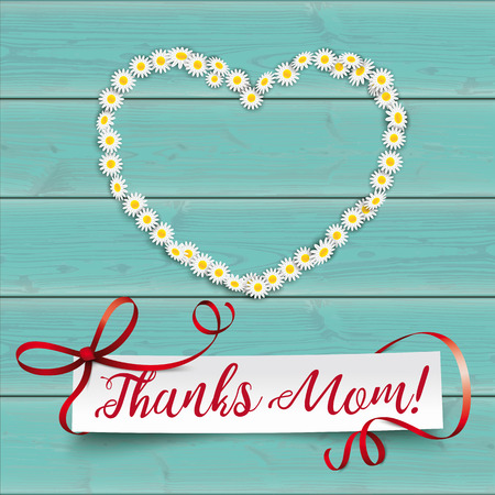 White paper banner with the text Thanks Mom.  Eps 10 vector file. Illustration